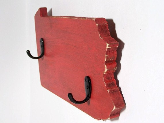 Pennsylvania key hooks, coat hooks, cottage decor, wood, home decor, shabby chic, distressed, handmade, painted Rich Red