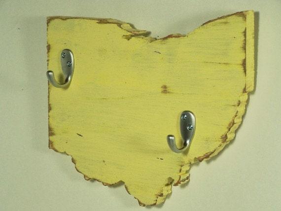 Ohio key hooks, coat hooks, home decor, cottage decor, wood, home decor, shabby chic, distressed, handmade, painted Earthly Yellow