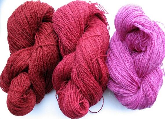 Wool Yarn Skeins - pink red burgundy 300 gr (10.6 oz ), approximately 383 yds