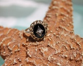 Circa 1940s Estate 10K Yellow and White Gold Onyx and Diamond Ring - Size 3.75