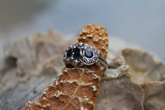Sterling Silver 925 Victorian Style Natural Sapphire and Seed Pearl Ring Size 6.5
