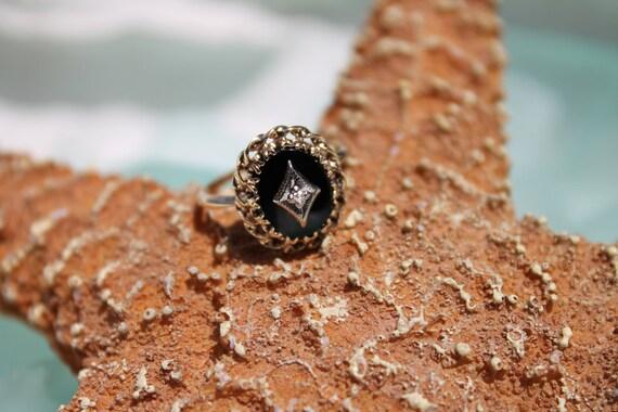 Circa 1940s Estate 10K Yellow and White Gold Onyx and Diamond Ring - Size 3.75