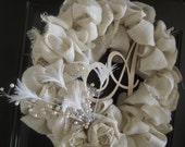Beautiful White Burlap Wreath with Ivory Rosettes and Feather Accents