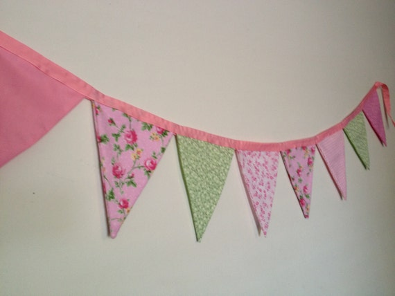 Shabby Chic Fabric Pennant Banner in Romantic Pinks and Greens with Roses and Gingham Check