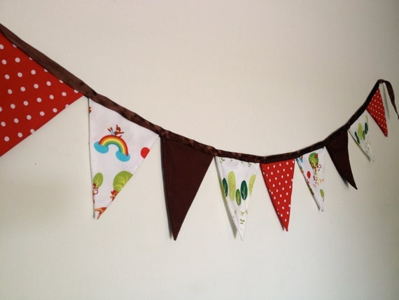Whimsical Monkeys Fabric Pennant Banner in Red and Brown with Polka Dots, Trees and Zoo Animals