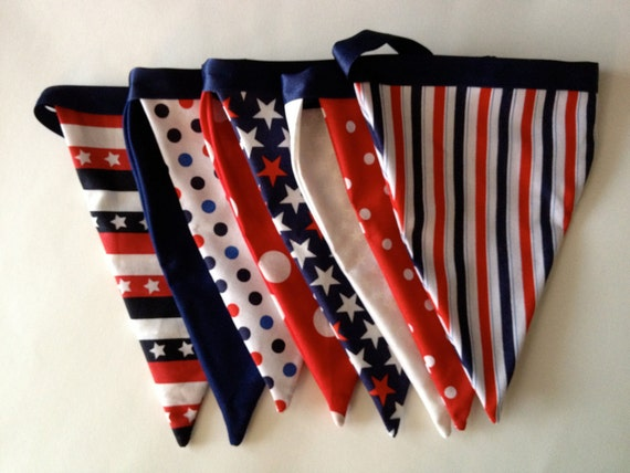Festive 4th of July / Memorial Day / Veteran's Day / Flag Day Fabric Pennant Banner // Cloth Bunting / Patriotic / Cookout / Barbeque