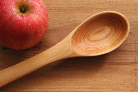 Handmade Wooden Tasting Stirring Serving Spoon of Larch Wood