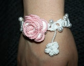 bracelet with rose and pearls
