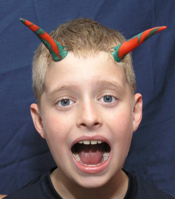 Halloween Horns Elf Pixie Costume Red and Green Cernit Polymer (set no.1)