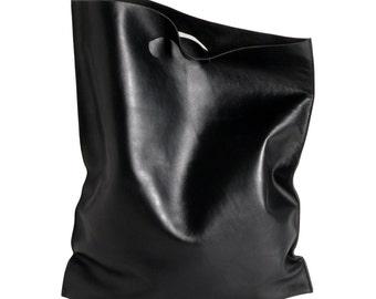 fluo bag black, shoppingbag made of soft calf leather