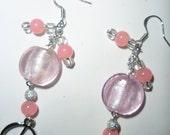 Beautiful Pink Dangle Peace Earrings