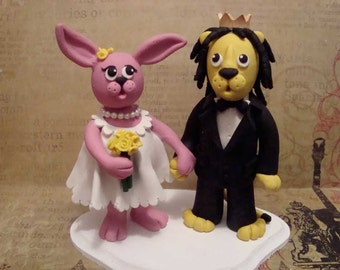 Personlized Animal Wedding Cake Topper