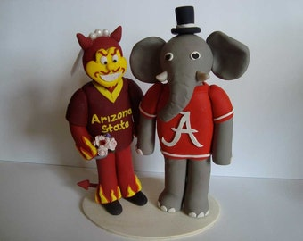 Custom Made Alabama Big Al & Arizona Sparky Mascots Cake Topper