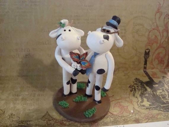 Custom Made Cow Wedding Cake Topper