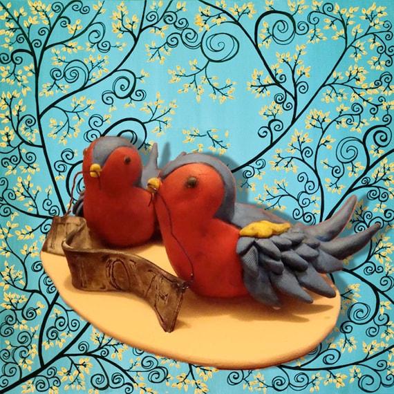 Customized Love Birds Wedding Cake Topper