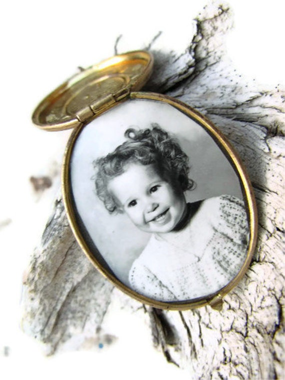 Antique mourning locket, gold with black cameo and sweet, sad original photo of young girl