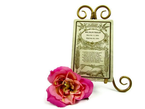 RESERVED Victorian funeral notice rare white card for Mrs. Ralph Traxler, died at just 17 years of age, from Good Mourning Shop