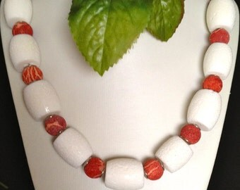 Summer coral necklace white red