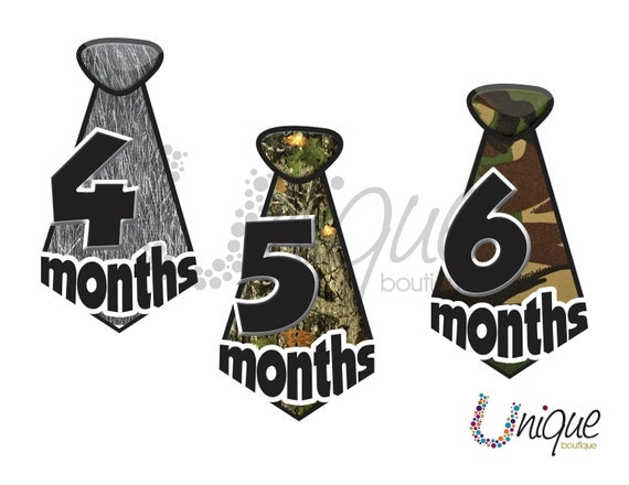 25% off - free shipping  -UNCUT neck TIE CAMO Monthly onesie stickers