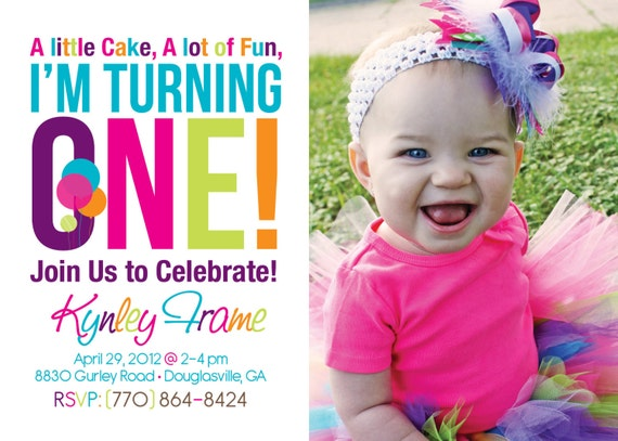 25% off - Bright 1st BIRTHDAY big one, invitation - DIGITAL file -