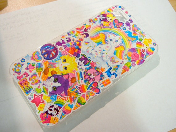 Cat Theme Iphone 4 Lisa Frank Phone Case, 90s Vintage Hipster Neon Kawaii
