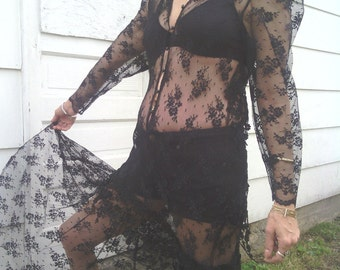Long Sheer Black Stretch Lace Goth Steampunk Long Sleeve Maxi Festival Dress