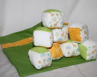 Baby soft block set-eight soft blocks and a bag