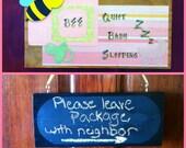 Bee Quiet Baby Sleeping 6x14 Sign - Girl Pink