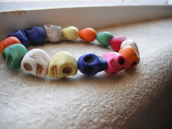 Colorful Elastic Skull Bracelet
