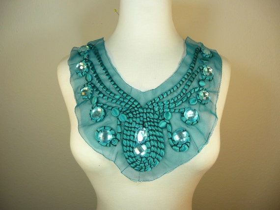 light green color big acrylic bead  and button beads hand beading round applique on mesh base lace yoke trim