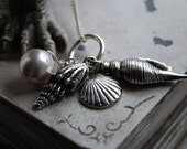 Nautical Sea Shell Conch Shell Clam Shell Pearl Charm Necklace