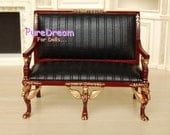 1:12 Cherry Wood And Black Stripe Leather Sofa Upholstered Couch Walnut gold Dollhouse Miniature Furniture JL1811