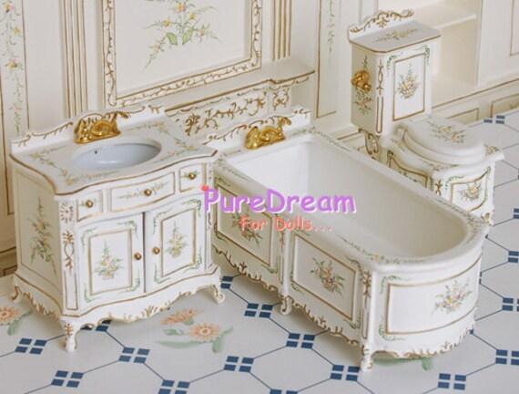 Items Similar To 1 12 Sink Cabinet Toilet Tub Dollhouse Miniature Victorian Furniture Bathroom