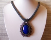 VALENTINE'S DAY SALE - Blue Jay - Bead Embroidery Necklace with Deep Sky Blue Jade