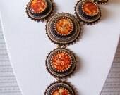 Autumn Mosaic - Bead Embroidery Necklace with Beautiful Agates - brown - grey - hematite - gold