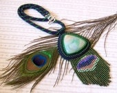 Beadwork Bead Embroidery Pendant Necklace with Agate - PEACOCK - blue - green - red