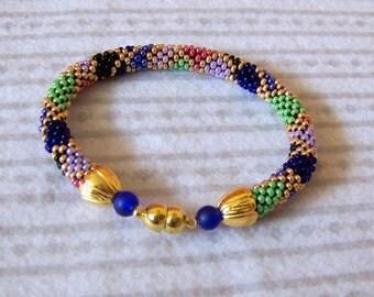 Beadwork - Bead Crochet Bracelet  - colorful - Abstract Beaded Bangle - Round Chunky Bangle - Geometric Design Bracelet