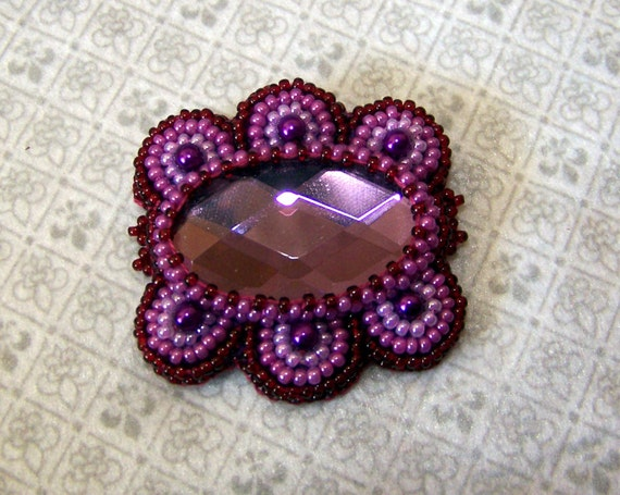 SALE - Brilliant Butterfly - Bead Embroidery Brooch - purple - red - violet