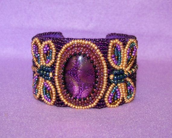 Brilliant Dragonflies - Bead Embroidered Bracelet with Dichroic Fused Glass - purple - violet - gold - red
