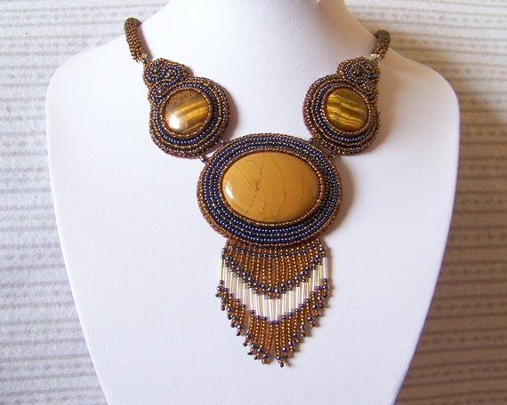 Golden Fairytale - Bead Embroidery Necklace with Jasper and Tiger Eye