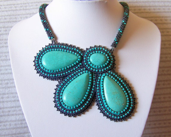 Statement Beadwork Bead Embroidery Pendant Necklace with Turquoise - TURQUOISE FLOWER - grey - turquoise