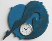 Unique wall clock Hand Painted Textured Acrylic Deep Teal Glaze