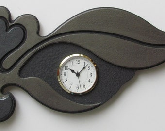 Modern Wall Clock Queen of Hearts Taupe on Taupe