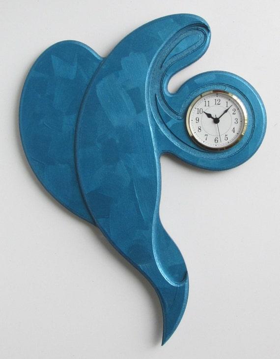 Wall Clock Hand Painted Textured Ultramarine Blue on Blue