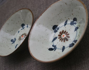Pottery Bowls Hand Painted Speckled Stone Soup Cereal Dishes Navy Blue & Apricot Orange Flowers