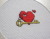 Completed cross stitch card Key heart