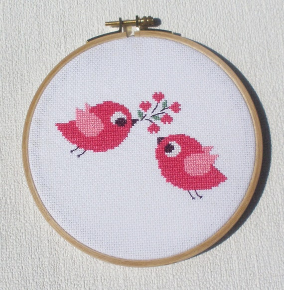 Bird Cross stitch pattern - Birds in love Instant Download PDF