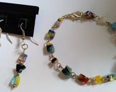 Pretty earrings and bracelet set made with millefiori beads.