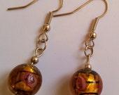 Amber colour, glass foil bead earrings