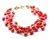 Multi-Strand Crocheted Red Lacquer Chunky Beaded Necklace with Crystal Beaded Accents, red beaded necklace by Lois Becker